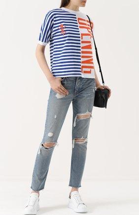 Женские джинсы прямого кроя с потертостями GRLFRND голубого цвета, арт. GF400401-S17 | Фото 2