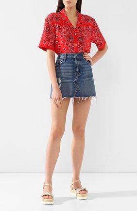 Женская джинсовая мини-юбка с потертостями GRLFRND синего цвета, арт. GF4042114-S17 | Фото 2