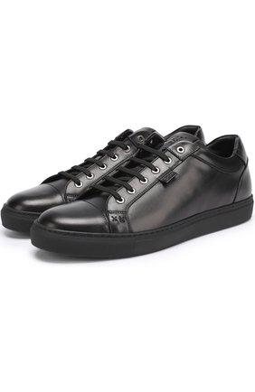 Мужские кожаные кеды на шнуровке BRIONI черного цвета, арт. QHFM/06718 | Фото 1