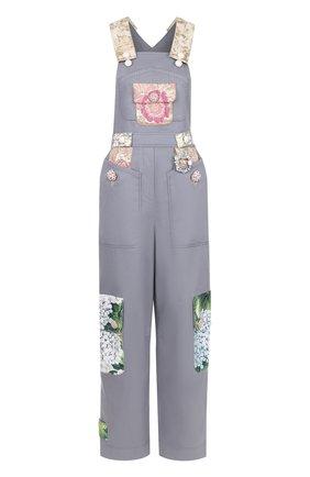 Приталенный комбинезон с контрастной отделкой Dolce & Gabbana серый   Фото №1