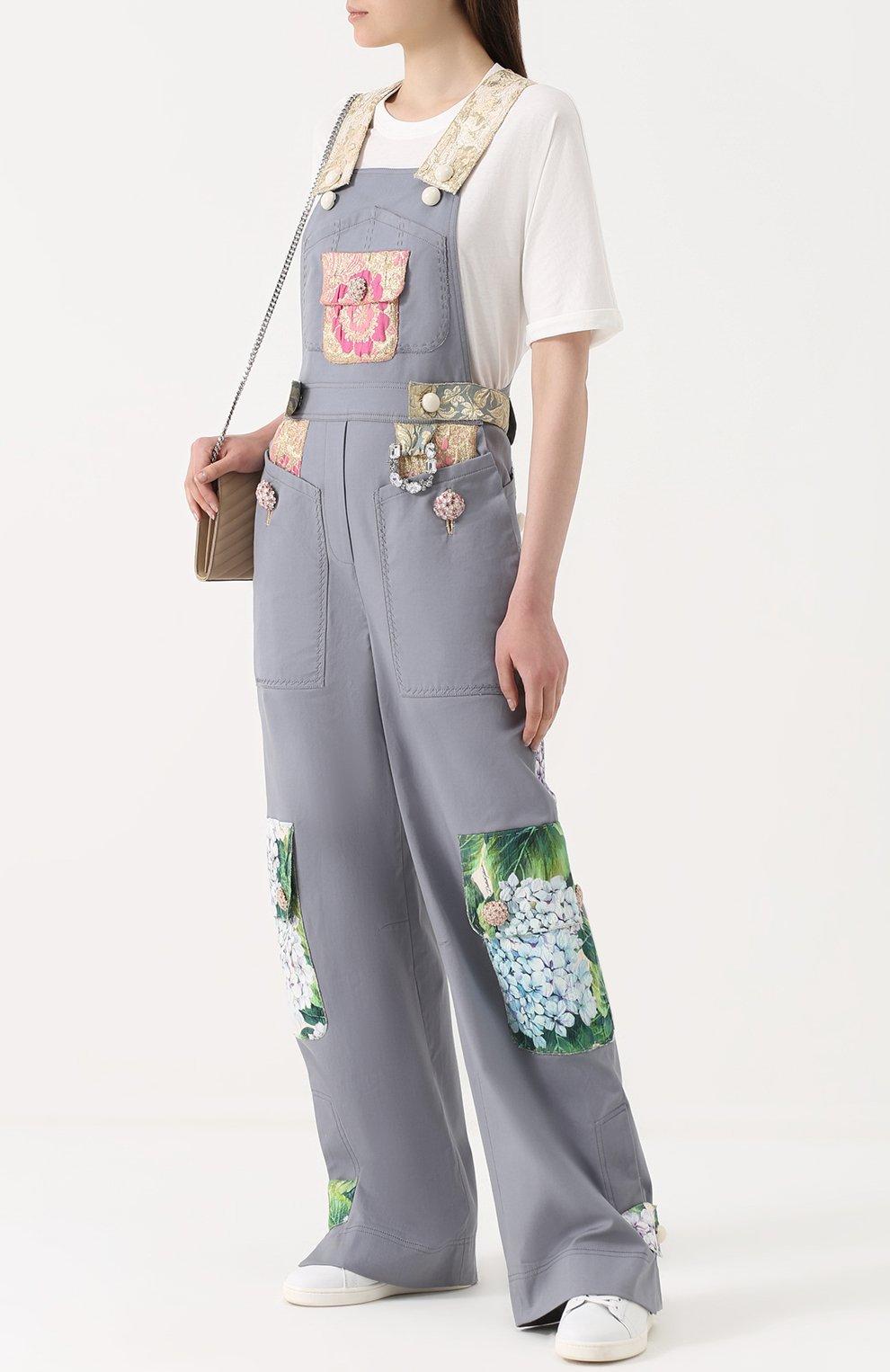 Приталенный комбинезон с контрастной отделкой Dolce & Gabbana серый   Фото №2