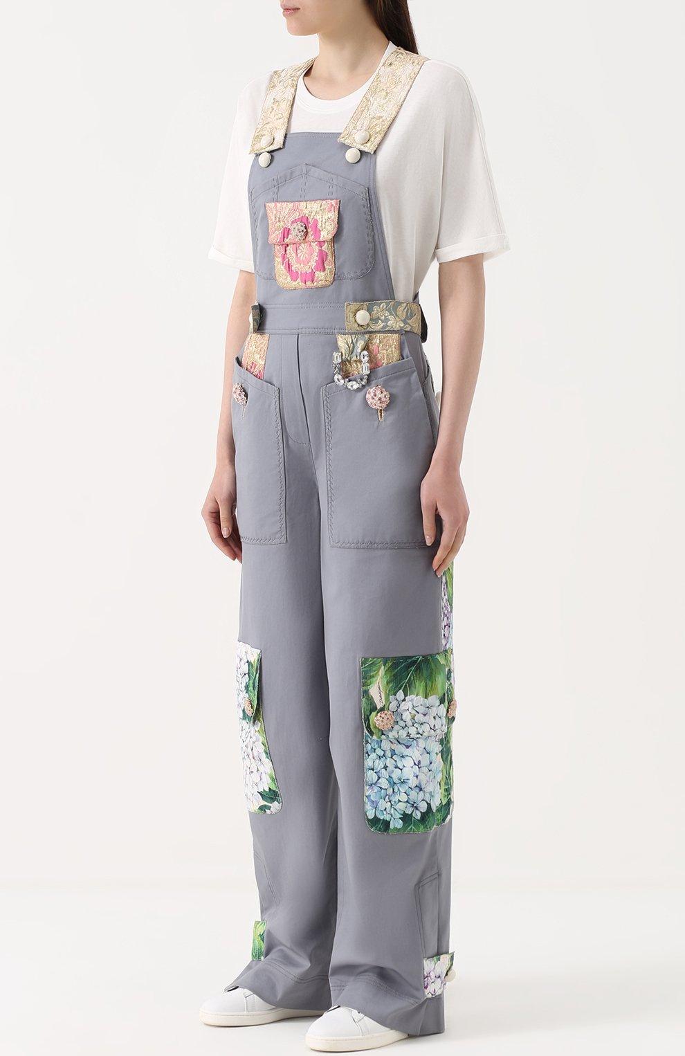 Приталенный комбинезон с контрастной отделкой Dolce & Gabbana серый   Фото №3
