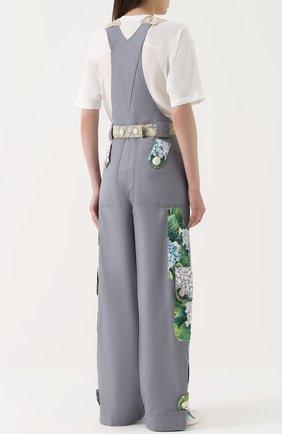 Приталенный комбинезон с контрастной отделкой Dolce & Gabbana серый   Фото №4