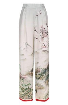 Шелковые брюки с эластичным поясом и принтом F.R.S. светло-серые | Фото №1