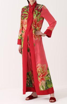 Шелковое пальто с цветочным принтом F.R.S. розового цвета | Фото №1
