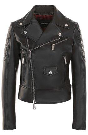 Приталенная кожаная куртка с косой молнией Dsquared2 черная | Фото №1