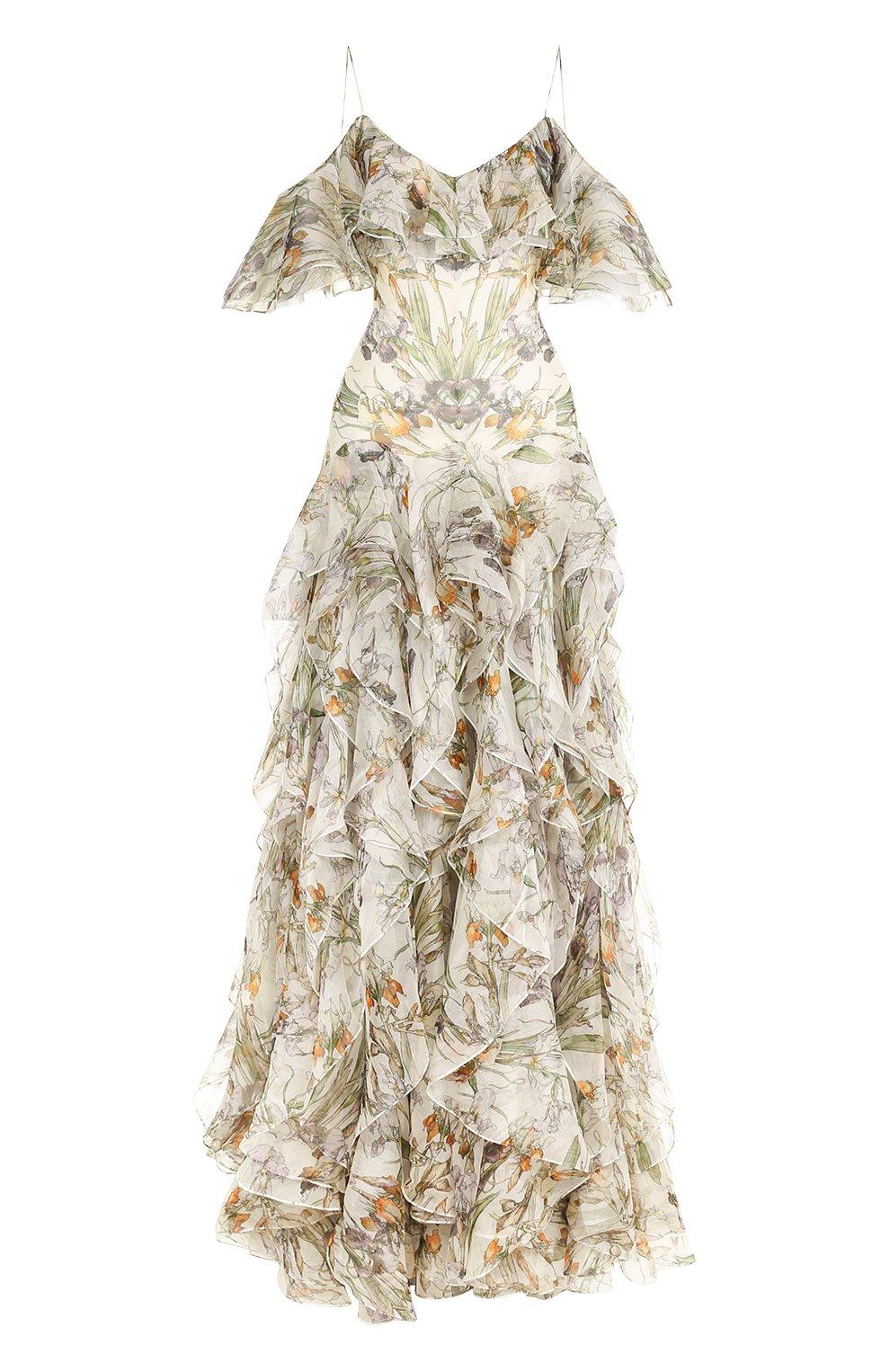 Шелковое платье с оборками и принтом | Фото №1