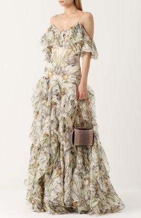 Шелковое платье с оборками и принтом | Фото №2