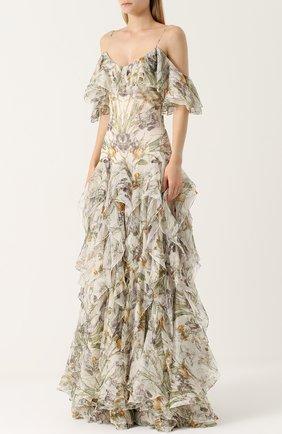 Шелковое платье с оборками и принтом | Фото №3