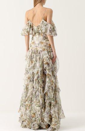 Шелковое платье с оборками и принтом | Фото №4