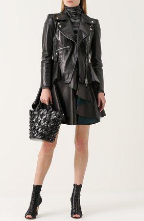 Кожаная куртка асимметричного кроя с косой молнией | Фото №2