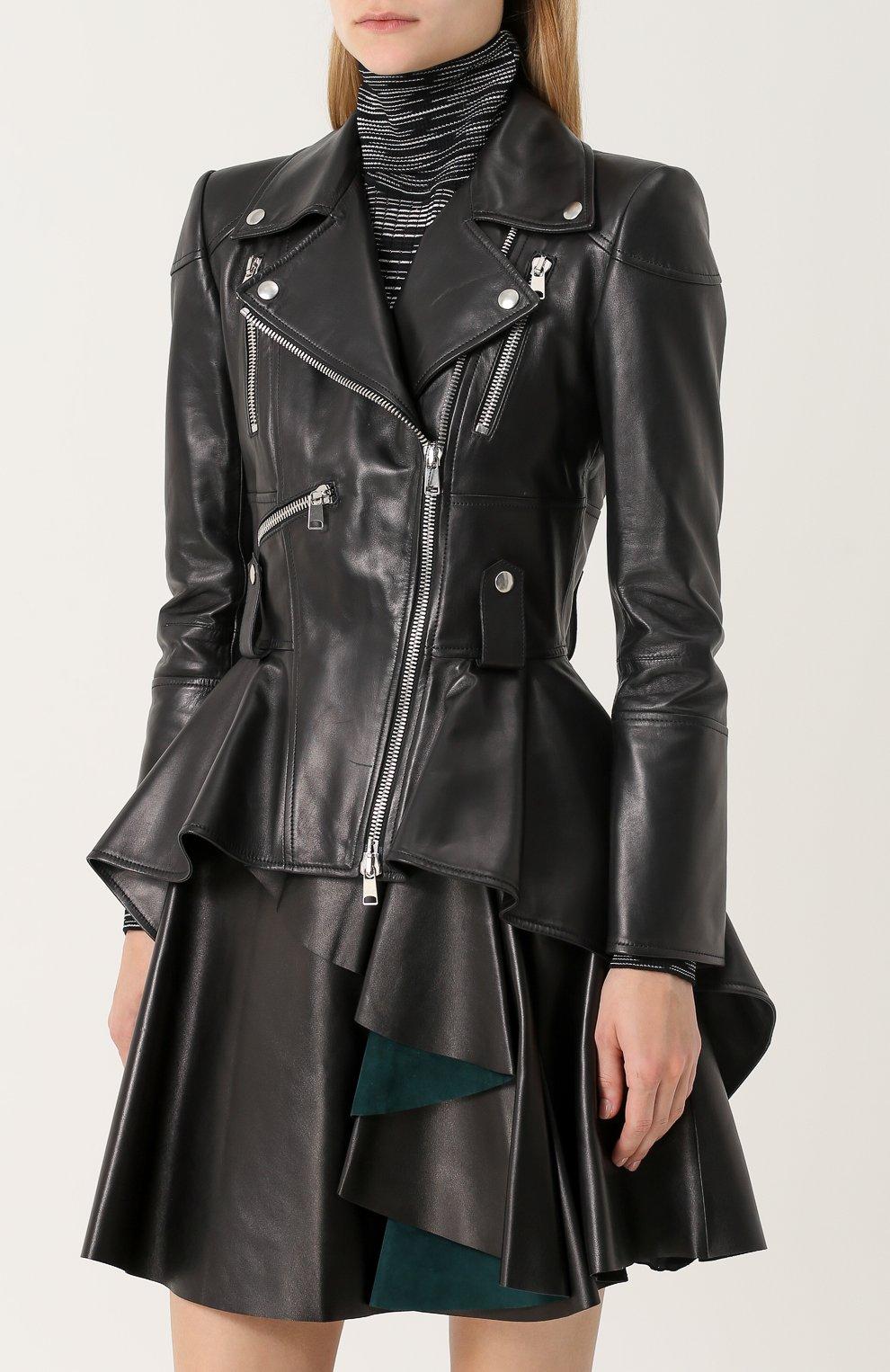 Кожаная куртка асимметричного кроя с косой молнией | Фото №3