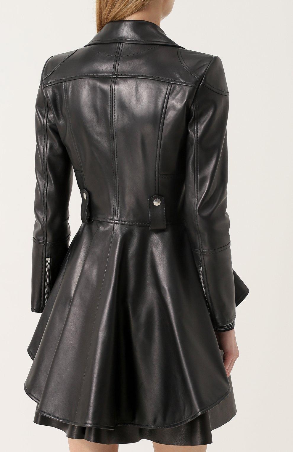 Кожаная куртка асимметричного кроя с косой молнией | Фото №4