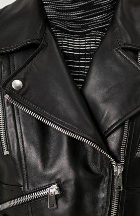 Кожаная куртка асимметричного кроя с косой молнией | Фото №5