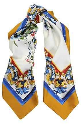 Шелковый платок с принтом Dolce & Gabbana желтый | Фото №1