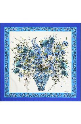 Шелковый платок с принтом Dolce & Gabbana синий   Фото №2