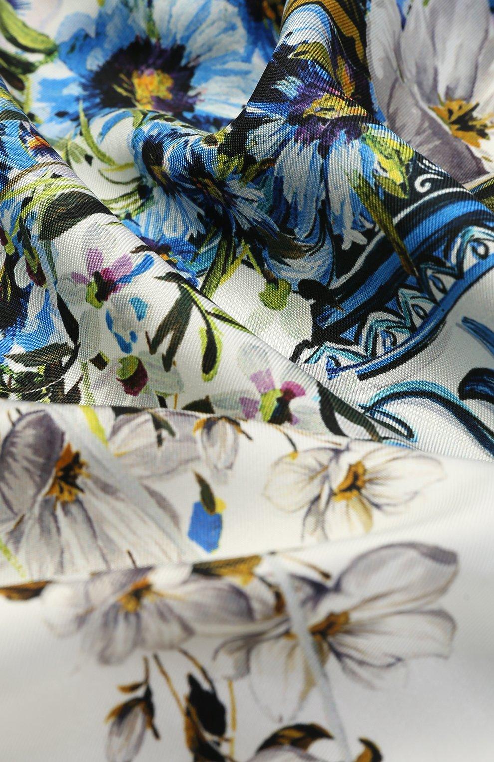 Шелковый платок с принтом Dolce & Gabbana синий   Фото №3