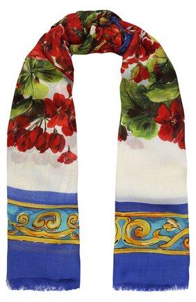 Шарф из смеси вискозы и кашемира с принтом Dolce & Gabbana разноцветный | Фото №1