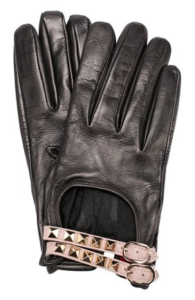 Кожаные перчатки с декором   Фото №1