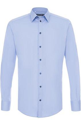 Мужская хлопковая сорочка с воротником кент DOLCE & GABBANA голубого цвета, арт. 0101/G5EB4T/FUEAJ | Фото 1