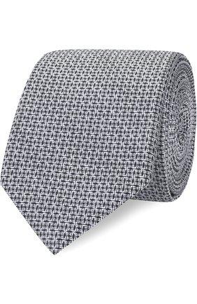 Шелковый галстук с узором Dolce & Gabbana серого цвета | Фото №1