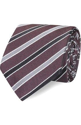 Шелковый галстук в полоску Dolce & Gabbana бордового цвета | Фото №1