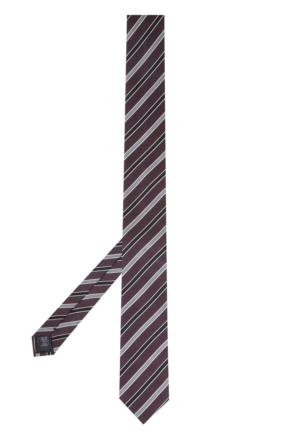 Шелковый галстук в полоску Dolce & Gabbana бордового цвета | Фото №2