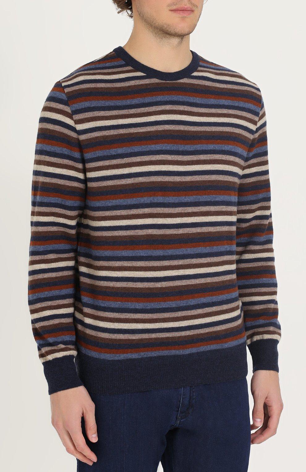 Джемпер из шерсти тонкой вязки в контрастную полоску | Фото №3