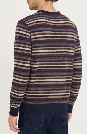 Джемпер из шерсти тонкой вязки в контрастную полоску | Фото №4