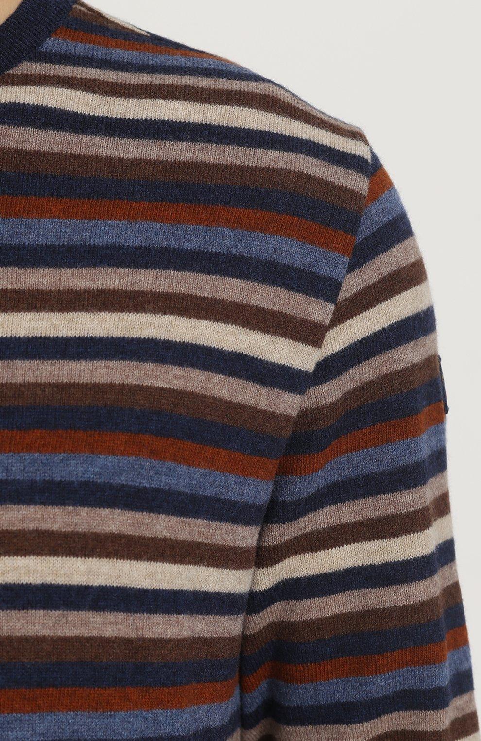 Джемпер из шерсти тонкой вязки в контрастную полоску | Фото №5
