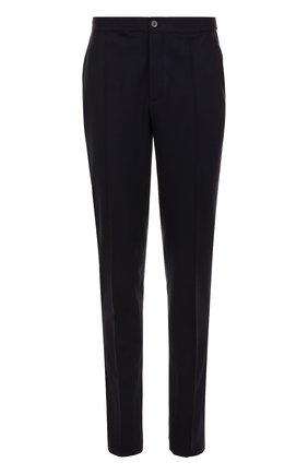 Шерстяные брюки прямого кроя с эластичным поясом