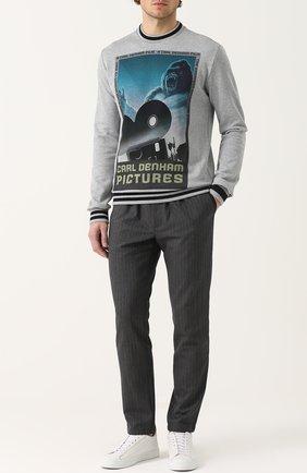 Хлопковый свитшот с принтом и контрастными манжетами Dolce & Gabbana серый | Фото №2