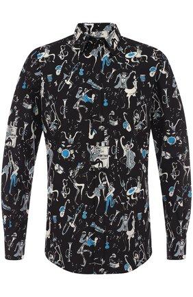 Хлопковая рубашка с принтом Dolce & Gabbana синяя | Фото №1