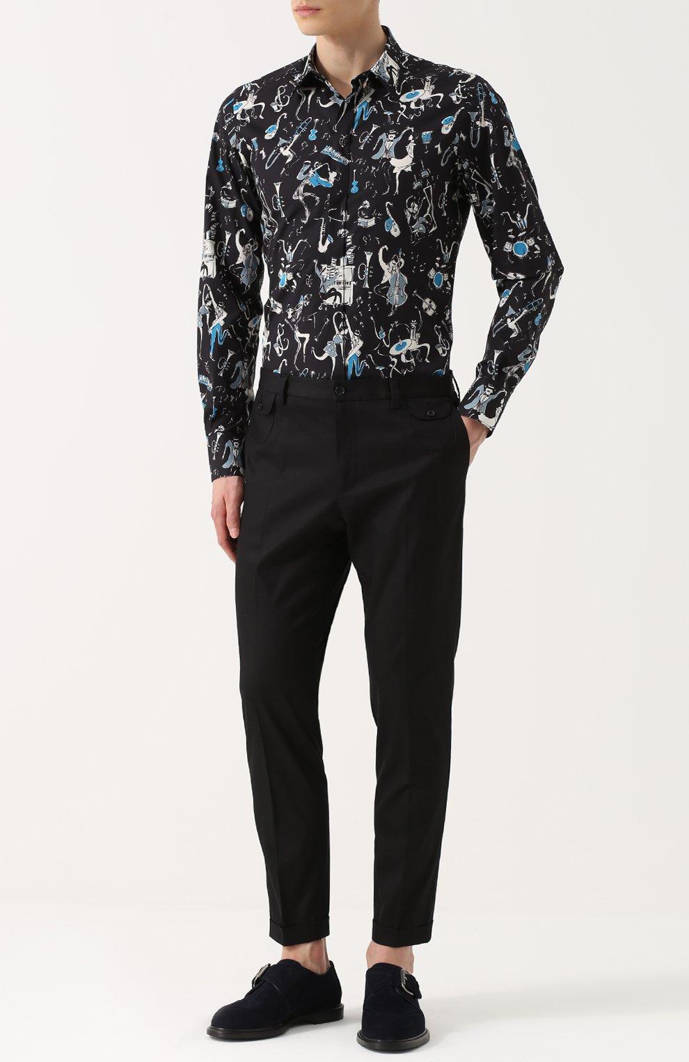 Хлопковая рубашка с принтом Dolce & Gabbana синяя | Фото №2