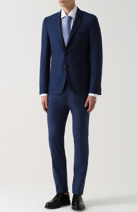 Шерстяные брюки прямого кроя Marco Pescarolo голубые | Фото №1