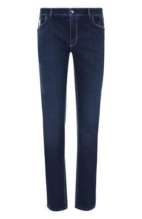 Мужские джинсы прямого кроя с контрастной прострочкой ZILLI темно-синего цвета, арт. 613N070002 | Фото 1