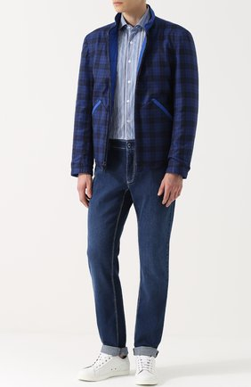 Мужские джинсы прямого кроя с контрастной прострочкой ZILLI темно-синего цвета, арт. 613N070002 | Фото 2