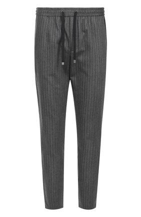 Брюки прямого кроя из смеси хлопка и шерсти с поясом на резинке Dolce & Gabbana серые   Фото №1