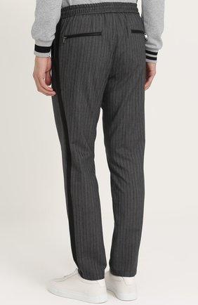Брюки прямого кроя из смеси хлопка и шерсти с поясом на резинке Dolce & Gabbana серые   Фото №4