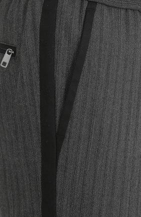 Брюки прямого кроя из смеси хлопка и шерсти с поясом на резинке Dolce & Gabbana серые   Фото №5