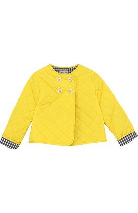 Стеганая куртка с аппликациями и фигурными пуговицами | Фото №1