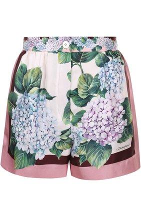 Шелковые мини-шорты с принтом Dolce & Gabbana разноцветные   Фото №1