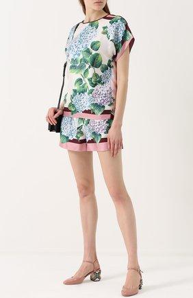 Шелковые мини-шорты с принтом Dolce & Gabbana разноцветные   Фото №2