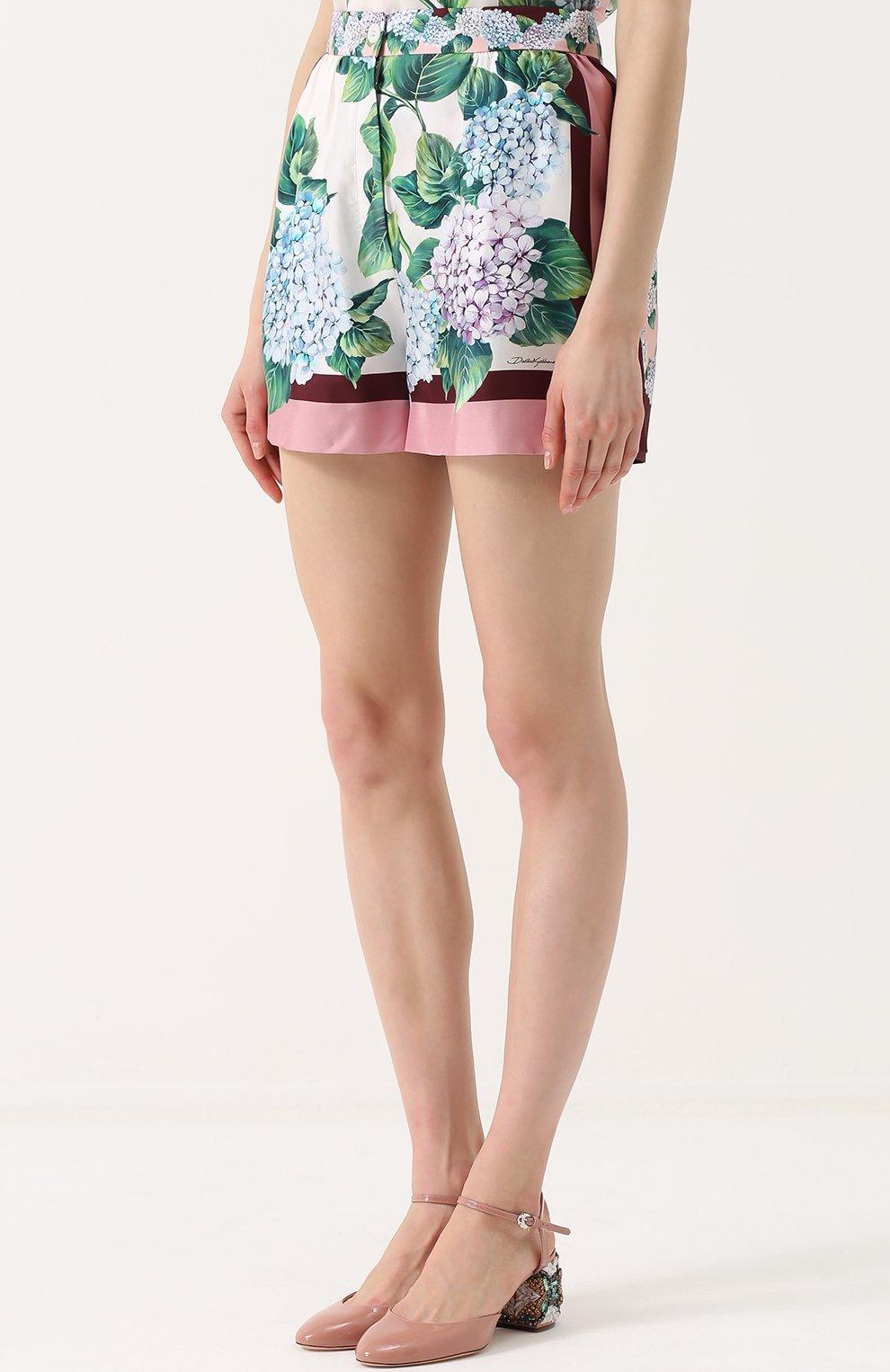 Шелковые мини-шорты с принтом Dolce & Gabbana разноцветные   Фото №3