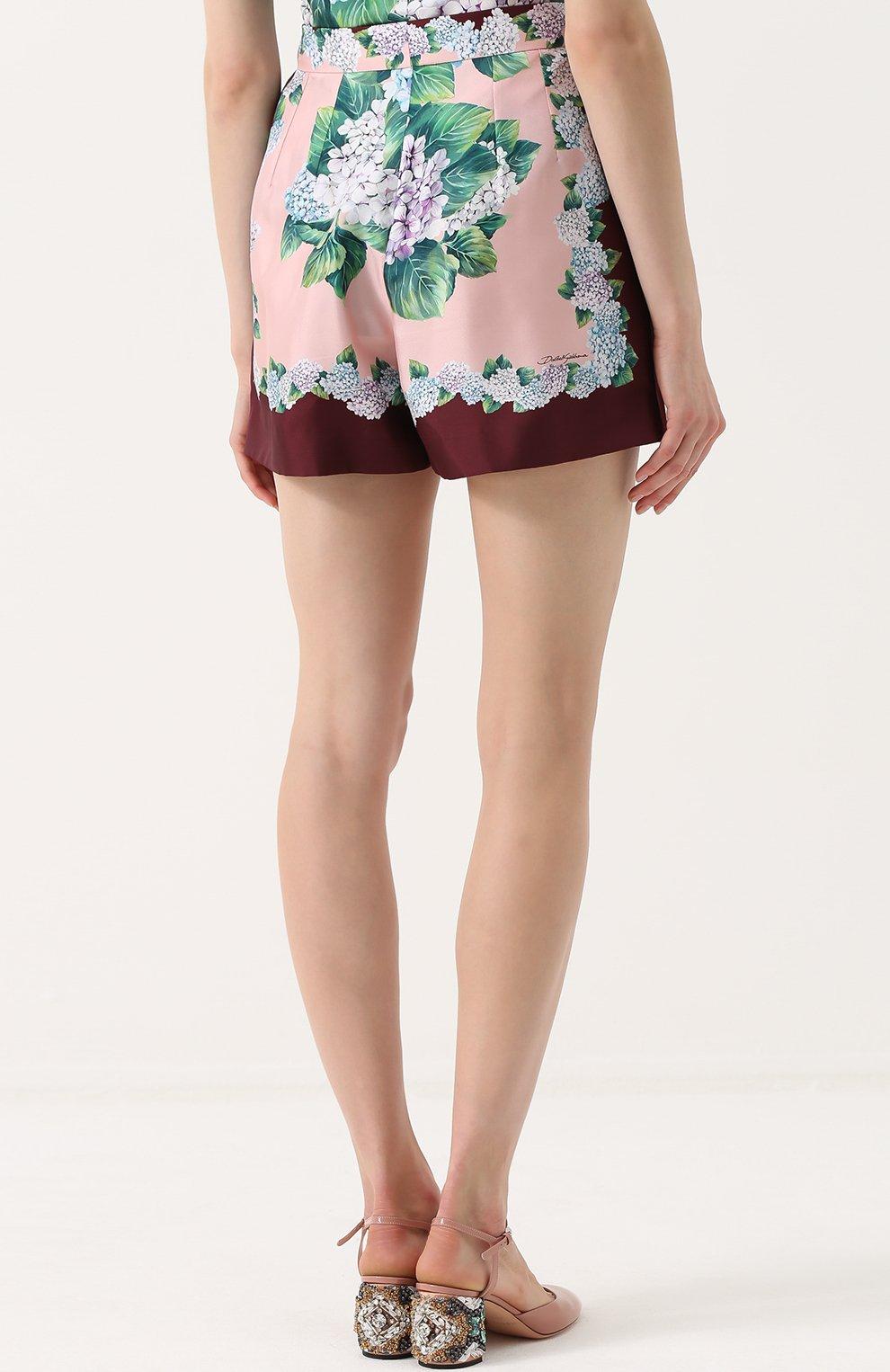 Шелковые мини-шорты с принтом Dolce & Gabbana разноцветные   Фото №4