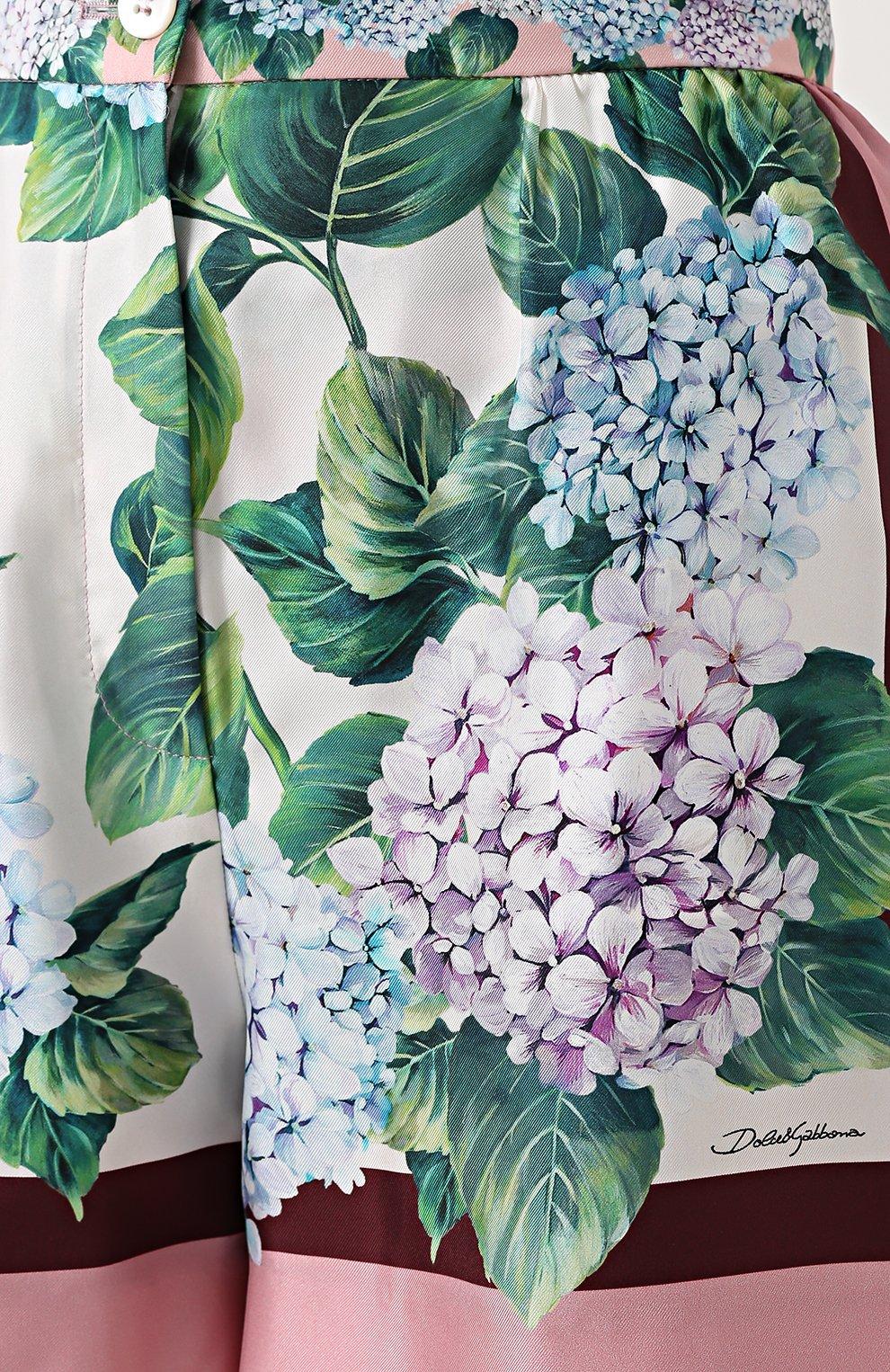 Шелковые мини-шорты с принтом Dolce & Gabbana разноцветные   Фото №5