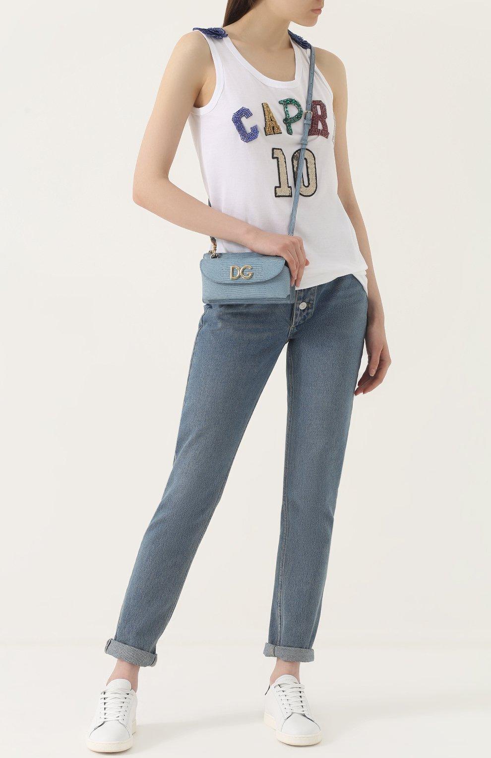 Топ прямого кроя с вышивкой пайетками Dolce & Gabbana белый | Фото №2