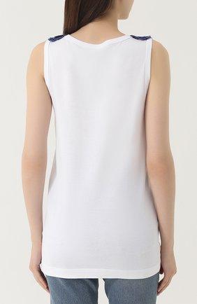 Топ прямого кроя с вышивкой пайетками Dolce & Gabbana белый | Фото №4