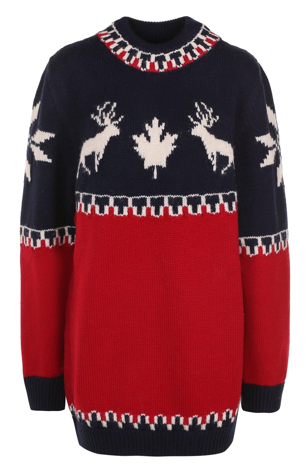 Удлиненный пуловер с принтом Dsquared2 красный | Фото №1