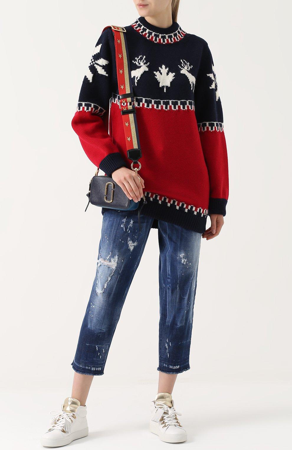 Удлиненный пуловер с принтом | Фото №2